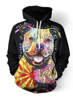 Dogs Pitbull 3D hoodie