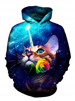 Unicorn Cat with Rose 3D hoodie