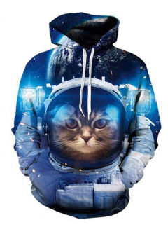 Space Cat Galaxy Astronaut 3D hoodie