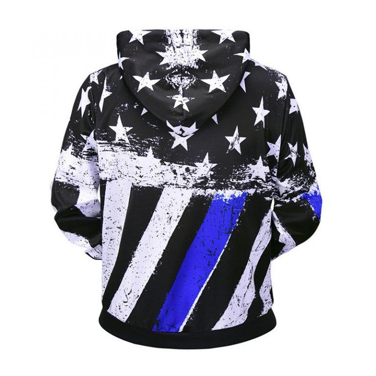 Blue American Flag Hoodie 2